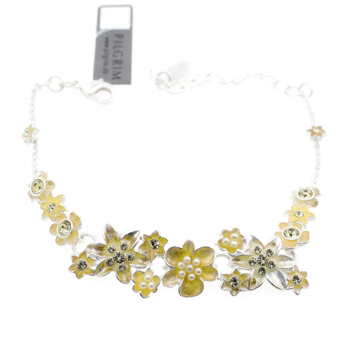 PILGRIM - Enchanted Flower - Clusters of Flowers Bracelet - Silver Plate/Yellow BNWT