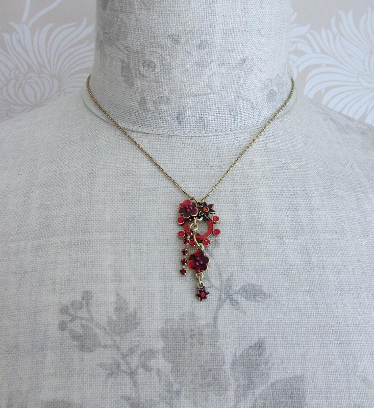 PILGRIM - Enchanted Flower - Single Pendant Necklace - Gold Plate/Red BNWT