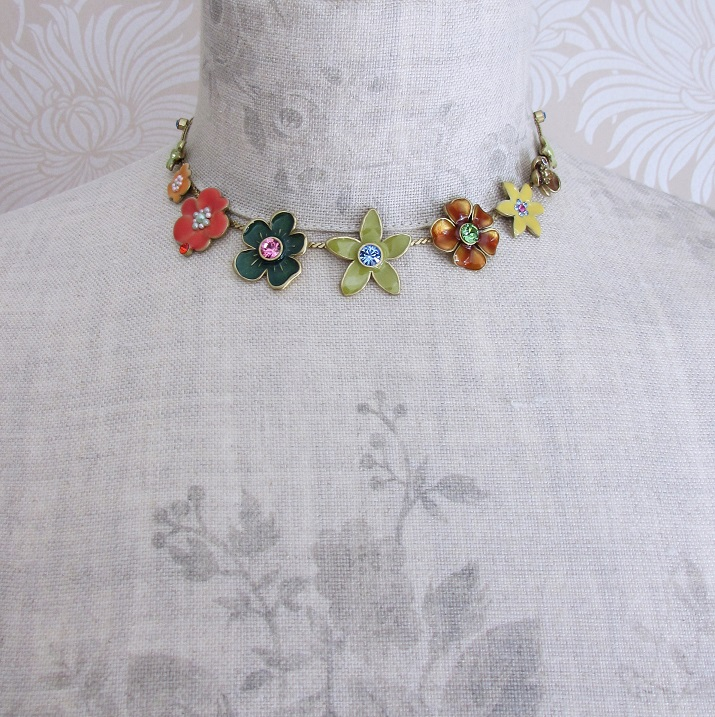 PILGRIM - Enchanted Flower - All-Round Necklace - Gold Plate/Multi-Colour BNWT