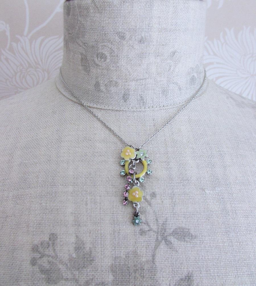 PILGRIM - Enchanted Flower - Single Pendant Necklace - Silver Plate/Multi Pastels BNWT