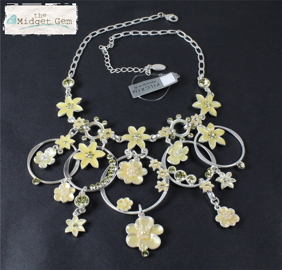 PILGRIM - ENCHANTED FLOWER - Mid-Elaborate Necklace - Silver Plate/Yellow BNWT