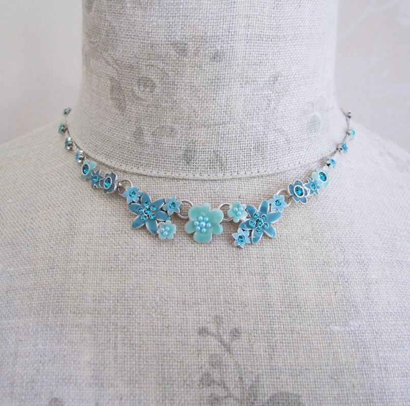 PILGRIM - Enchanted Flower - All-Round Necklace - Silver Plate/Turquoise Blue BNWT