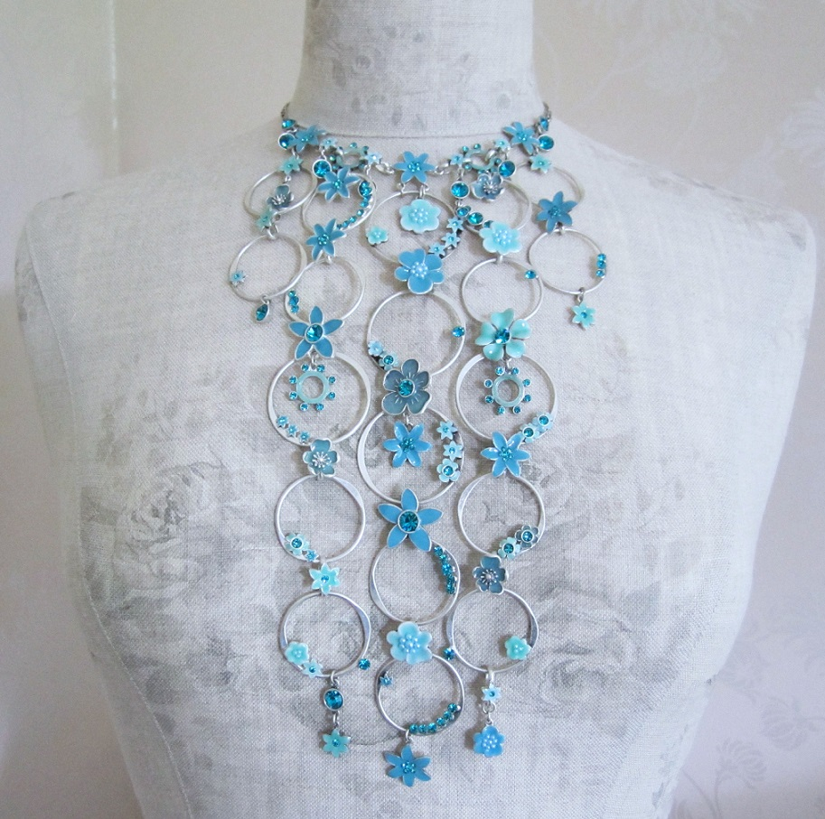 PILGRIM - Enchanted Flower - Elaborate Necklace - Silver Plate/Turquoise Blue BNWT