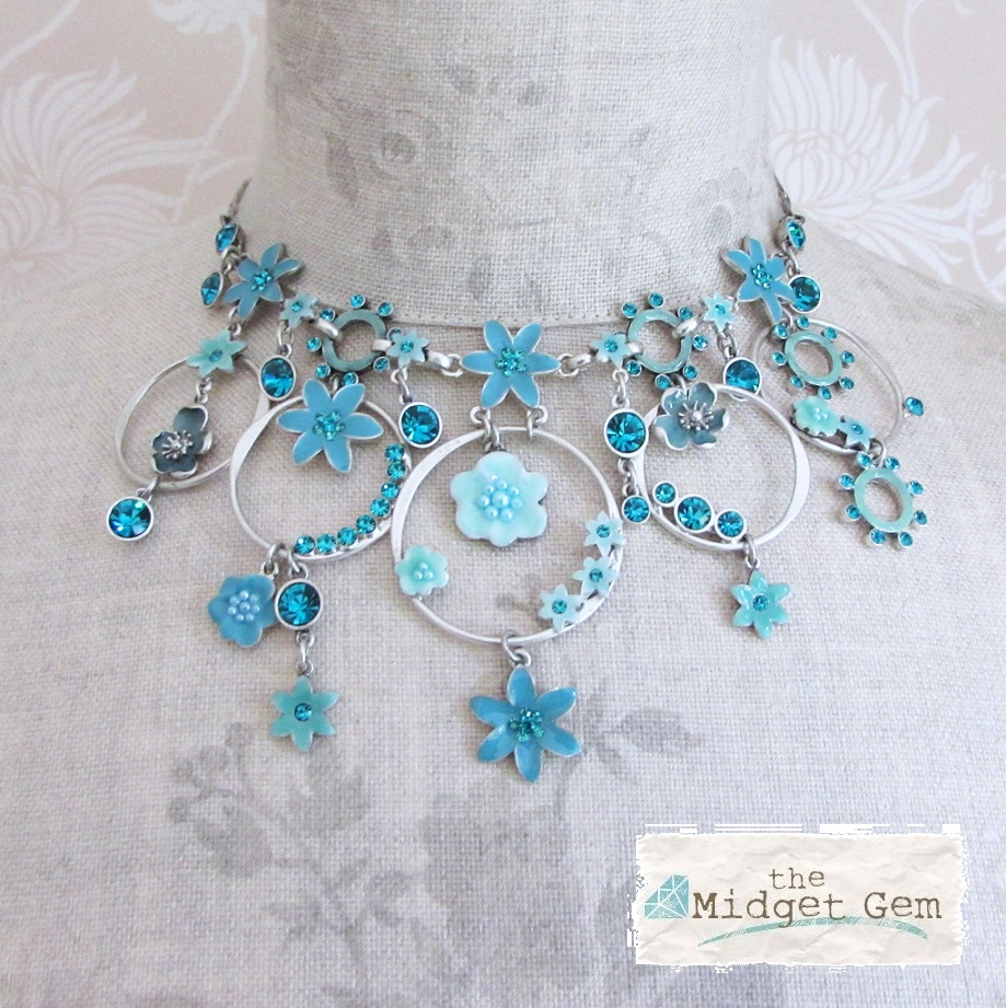 PILGRIM - ENCHANTED FLOWER - Mid-Elaborate Necklace - Silver Plate/Turquoise Blue BNWT