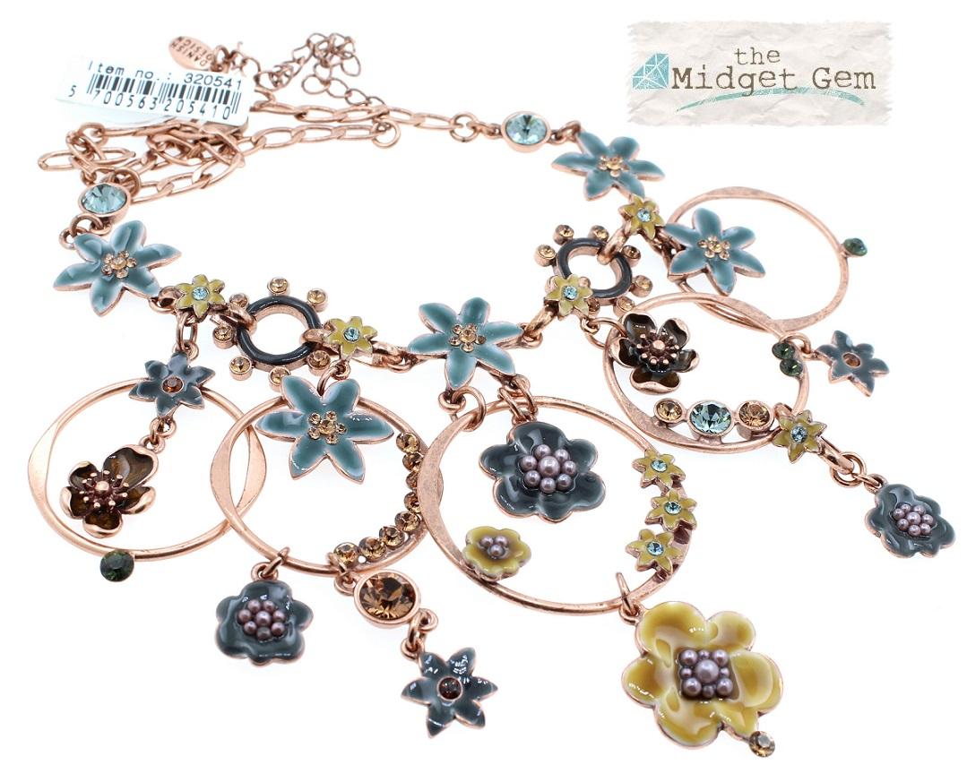 PILGRIM - ENCHANTED FLOWER - Mid-Elaborate Necklace - Copper Plate/Ochre & Blue BNWT