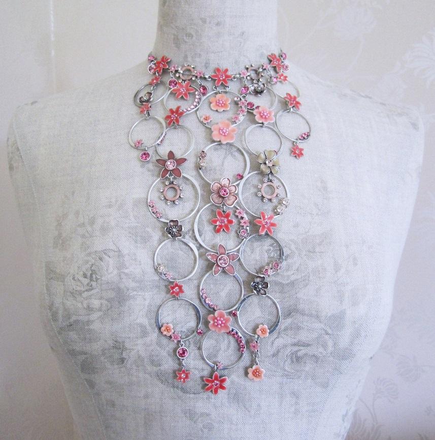 PILGRIM - Enchanted Flower - Elaborate Necklace - Silver Plate/Pink BNWT