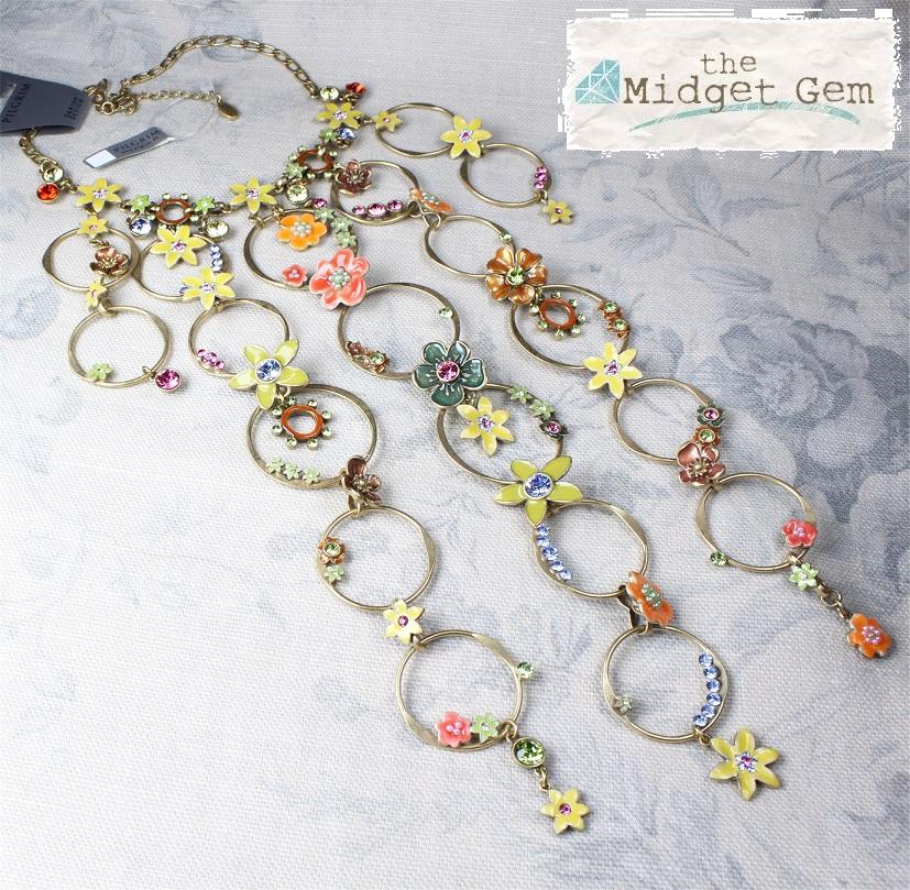 PILGRIM - Enchanted Flower - Elaborate Necklace - Gold Plate/Multi Colours BNWT