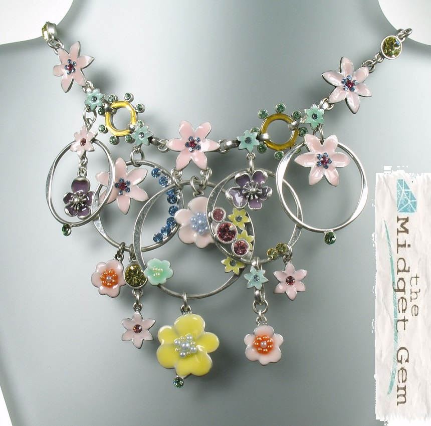 PILGRIM - ENCHANTED FLOWER - Mid-Elaborate Necklace - Silver Plate/Pastels BNWT