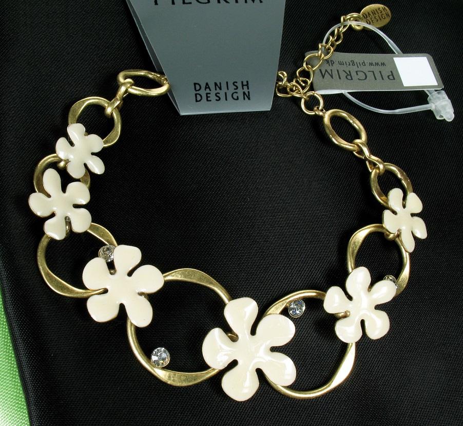 PILGRIM - Floral Splat - Bracelet - Cream/Gold Plate BNWT