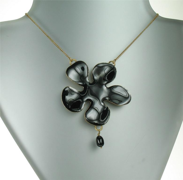 PILGRIM - Floral Splat - Pendant Necklace - Black/Gold Plate BNWT