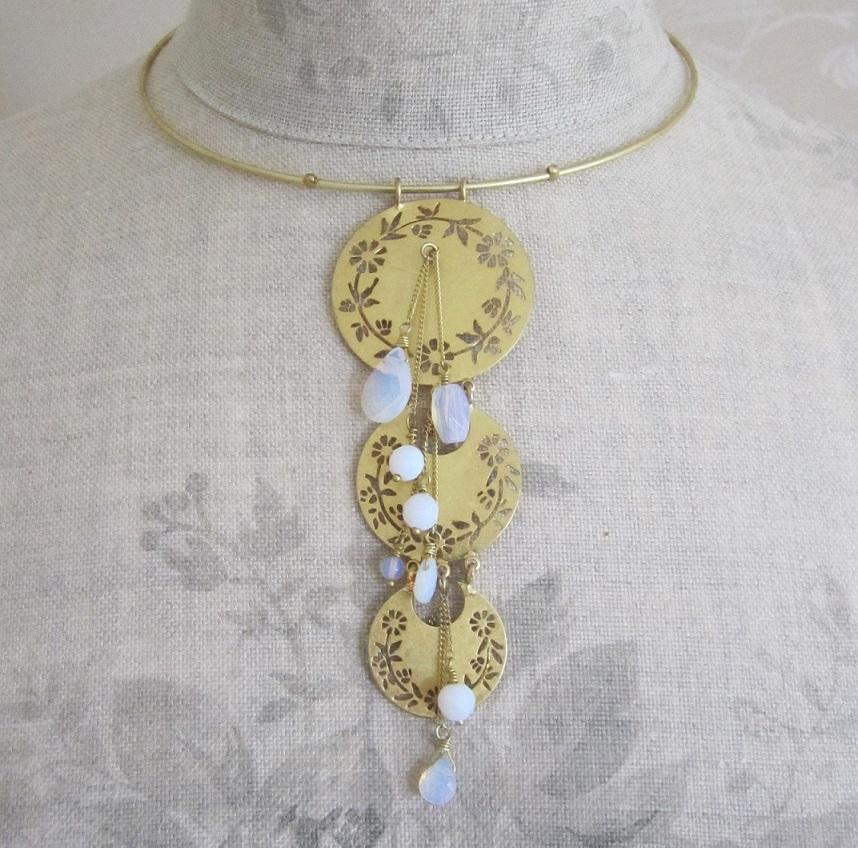 PILGRIM - Precious Moments - Collar Pendant Necklace - Gold Plate/White Opal Quartz Stones BNWT