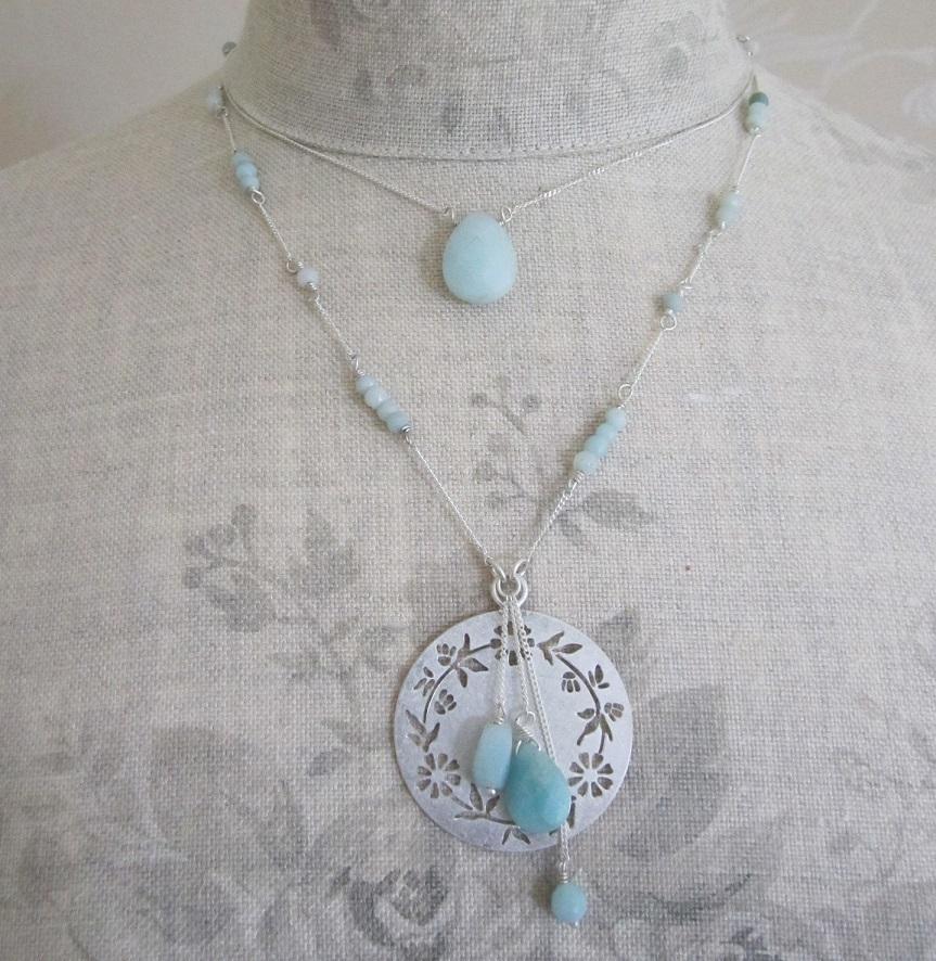 PILGRIM - Precious Moments - Double Strand Necklace - Silver Plate/Green Amazonite Stones BNWT