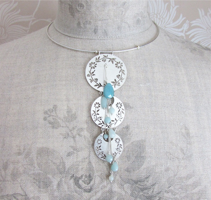 PILGRIM - Precious Moments - Collar Pendant Necklace - Silver Plate/Green Amazonite Stones BNWT