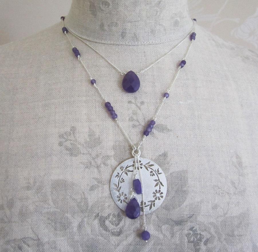 PILGRIM - Precious Moments - Double Strand Necklace - Silver Plate/Purple Amethyst Stones BNWT