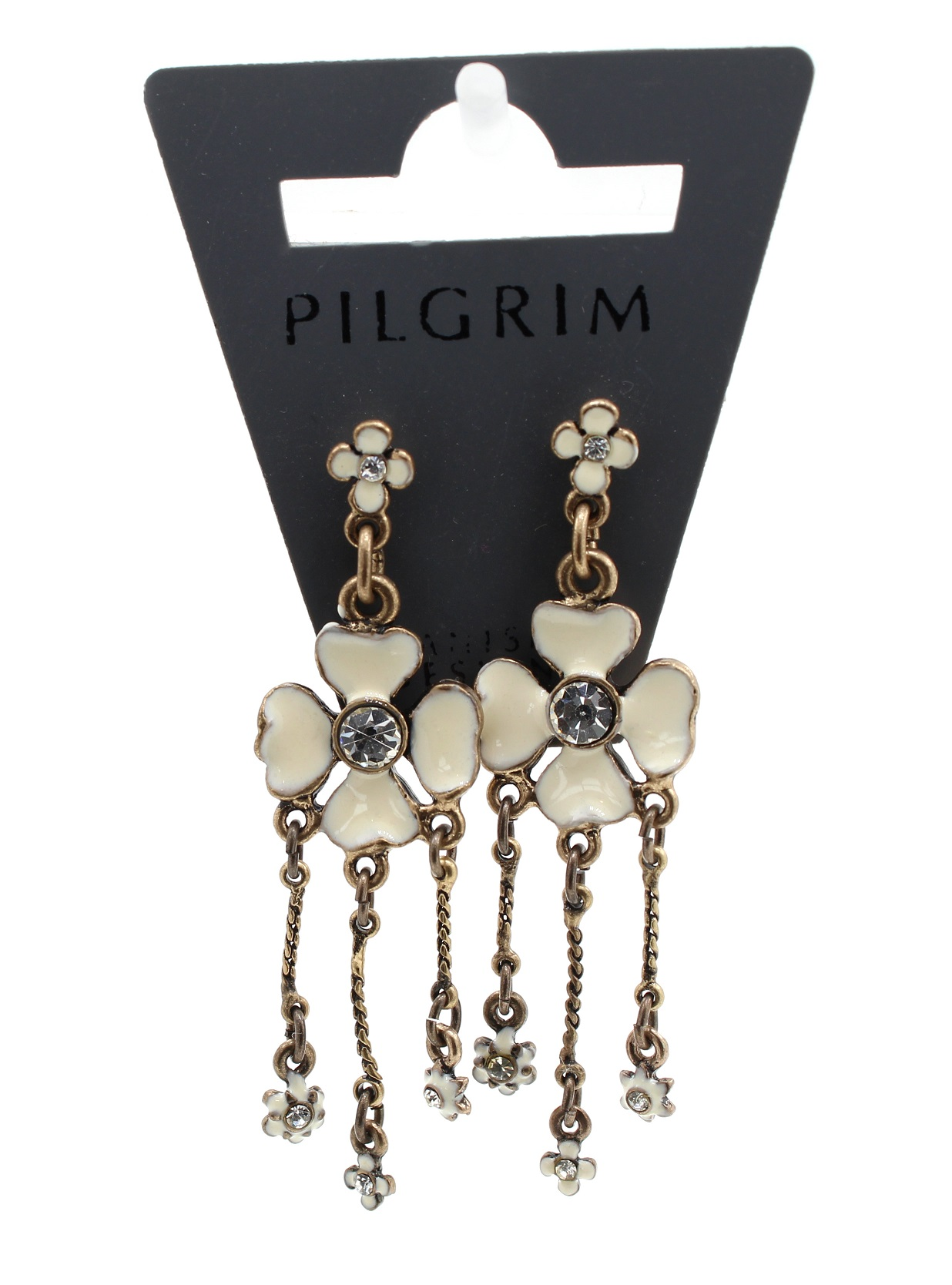 PILGRIM - Daisy - Mid Sized Earrings - Oxidised Gold Plate/White BNWT