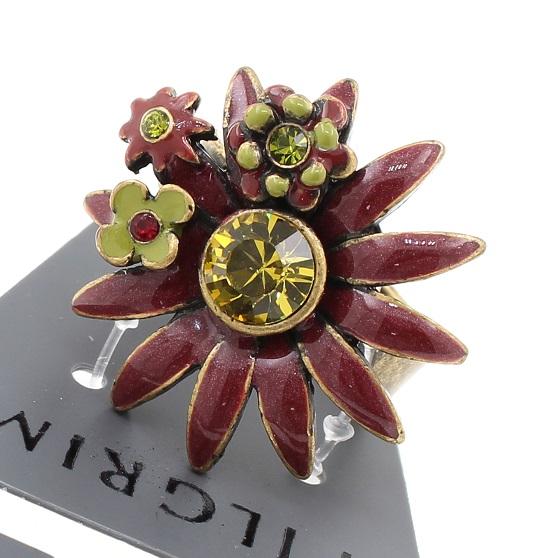 PILGRIM -  Daisy - Adjustable Ring Oxidised Gold Plate/Bordeaux Red BNWT
