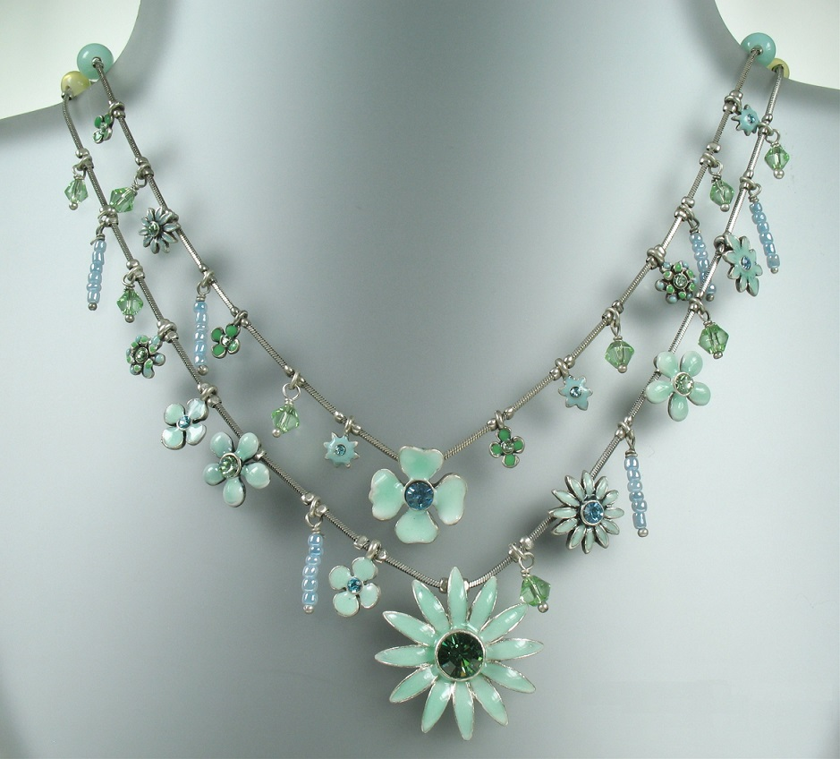 PILGRIM Daisy - Double Strand Necklace - Oxidised Silver Plate & Pastel Green BNWT