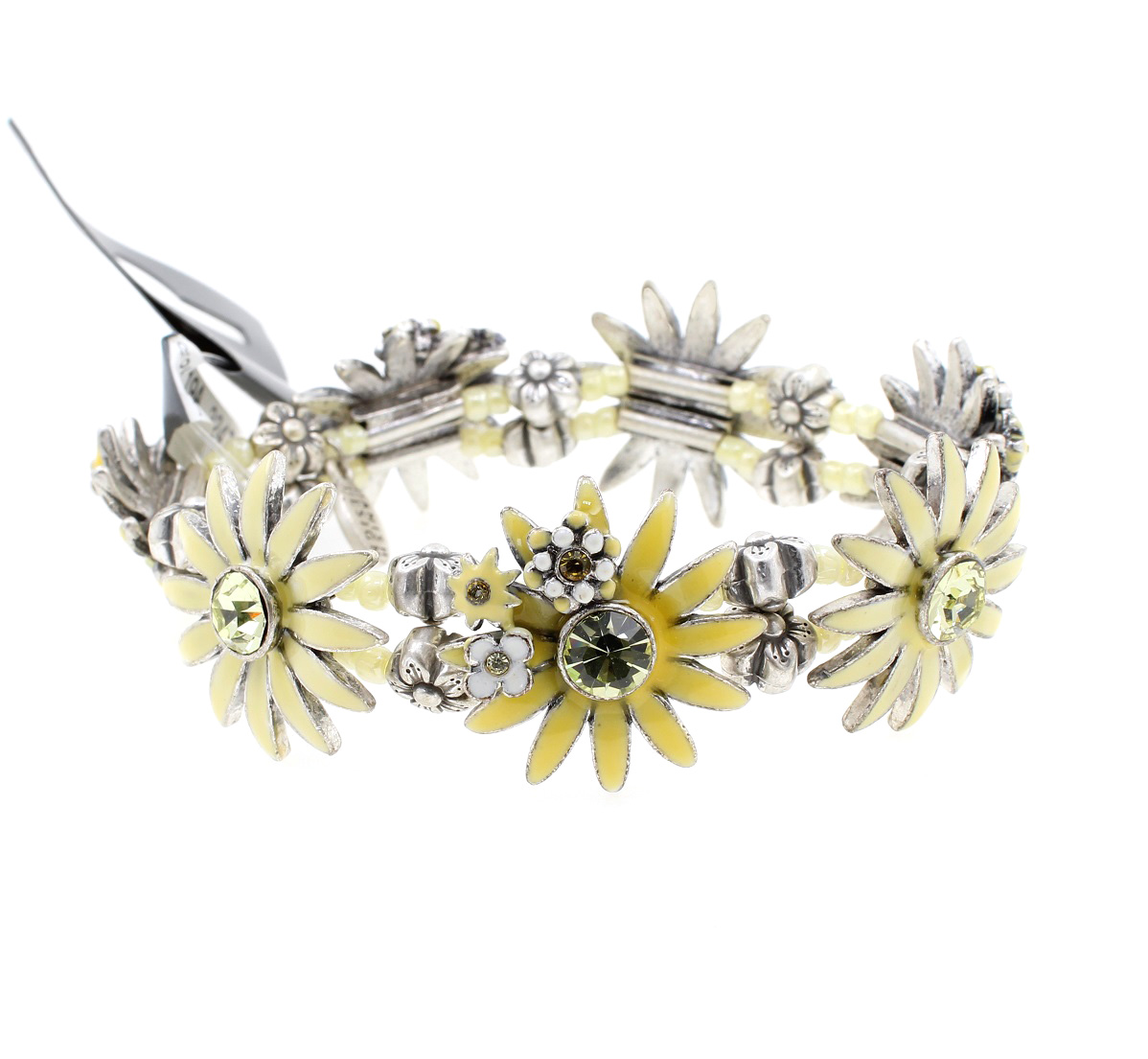 PILGRIM - Daisy - Stretch Bracelet - Oxidised Silver Plate/Yellow BNWT