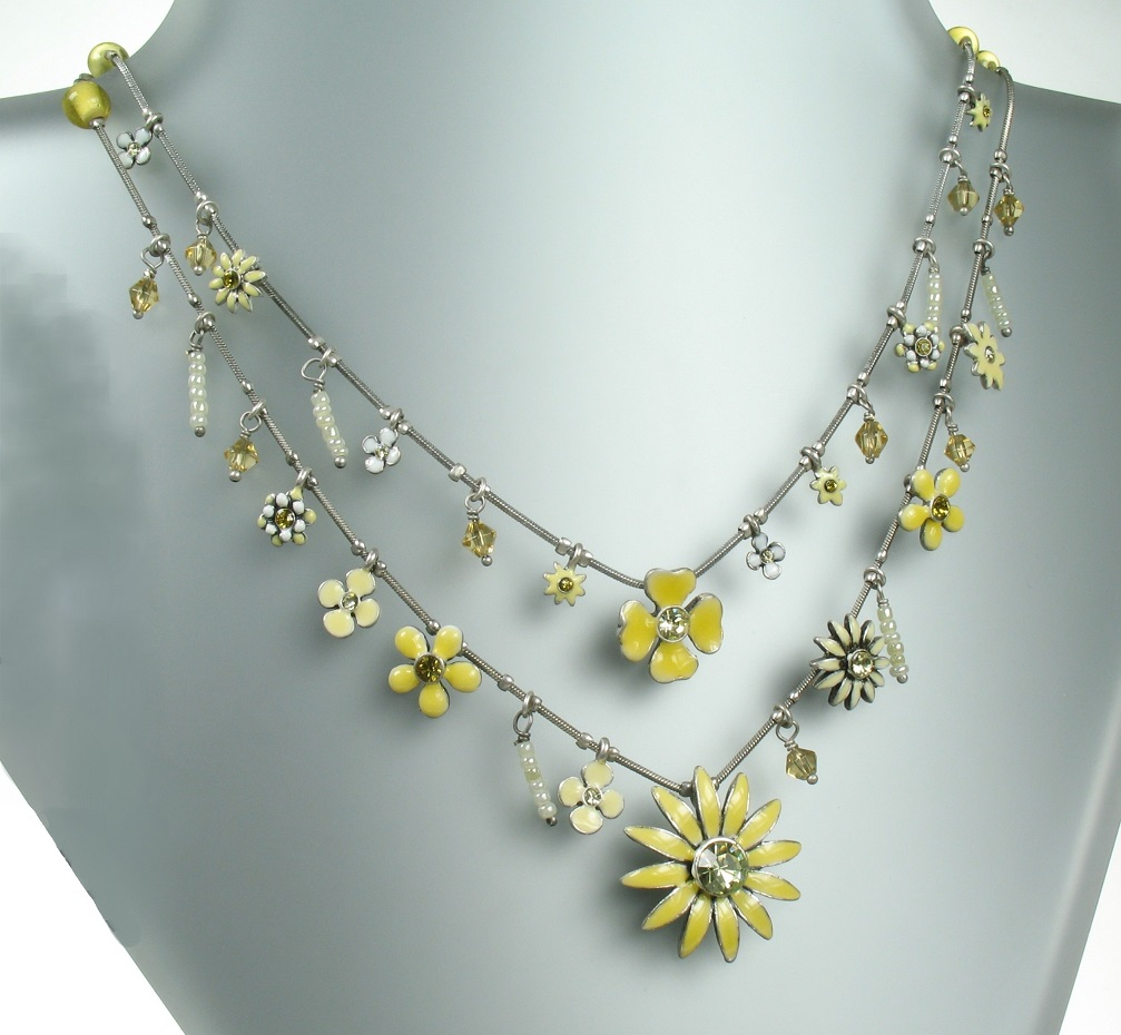 PILGRIM Daisy - Double Strand Necklace - Oxidised Silver Plate & Pastel Yellow BNWT
