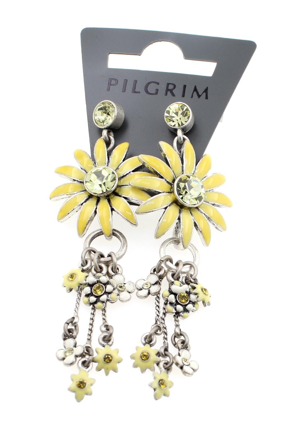 PILGRIM - Daisy - Elaborate Earrings - Oxidised Silver Plate/Yellow BNWT
