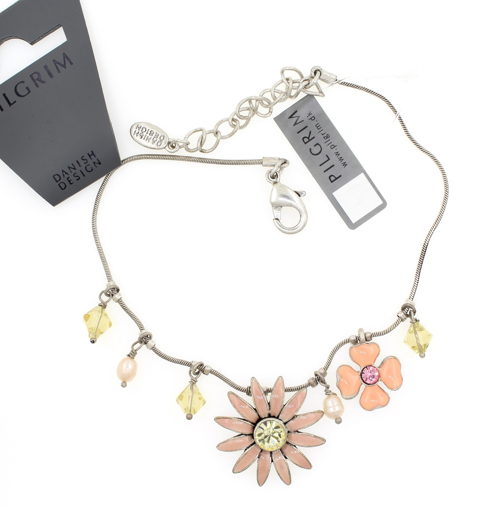 PILGRIM - Daisy - Ankle Chain - Silver Plate/Lilac & Pink BNWT