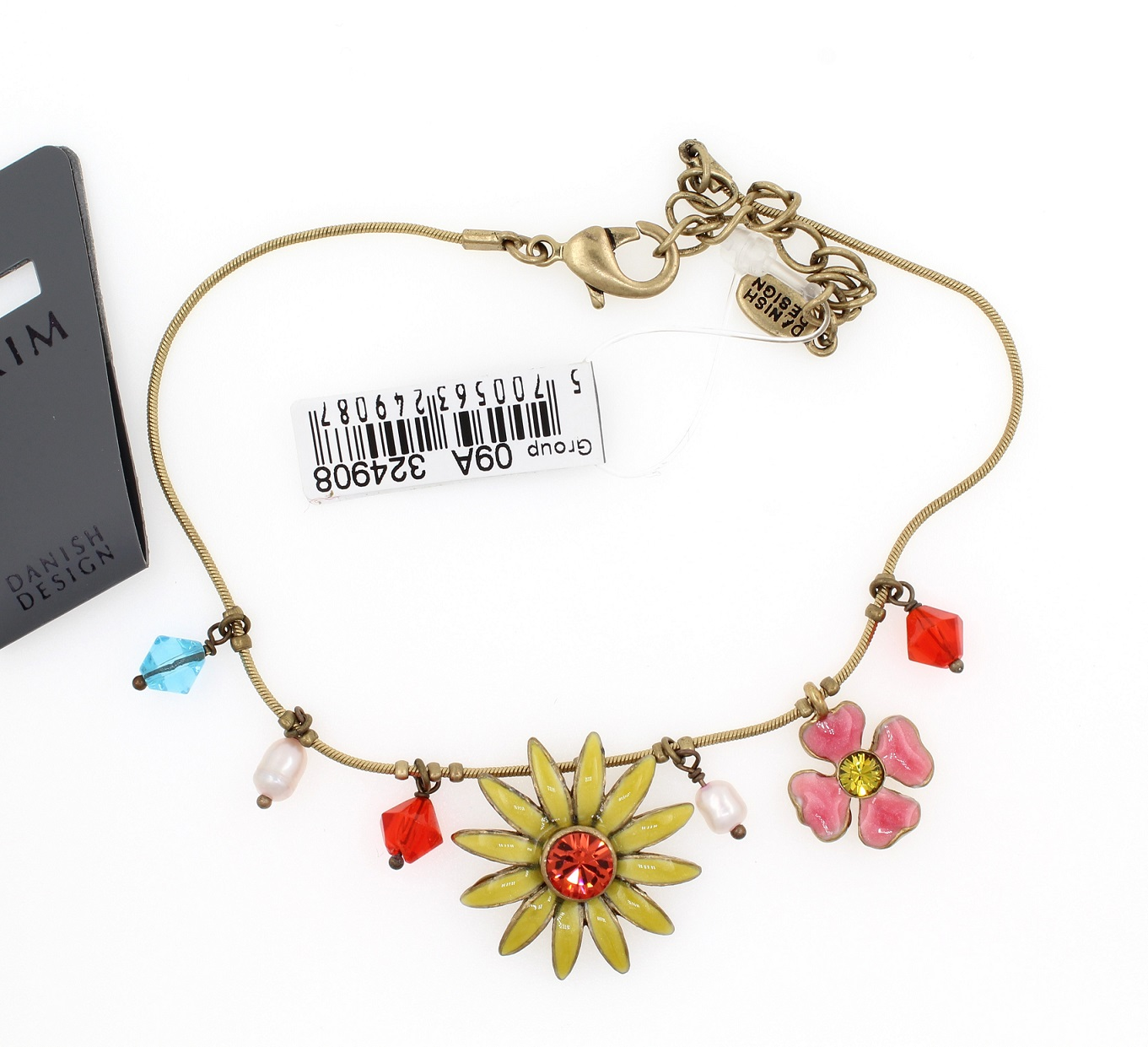 PILGRIM - Daisy - Ankle Chain - Gold Plate/Yellow & Pink BNWT