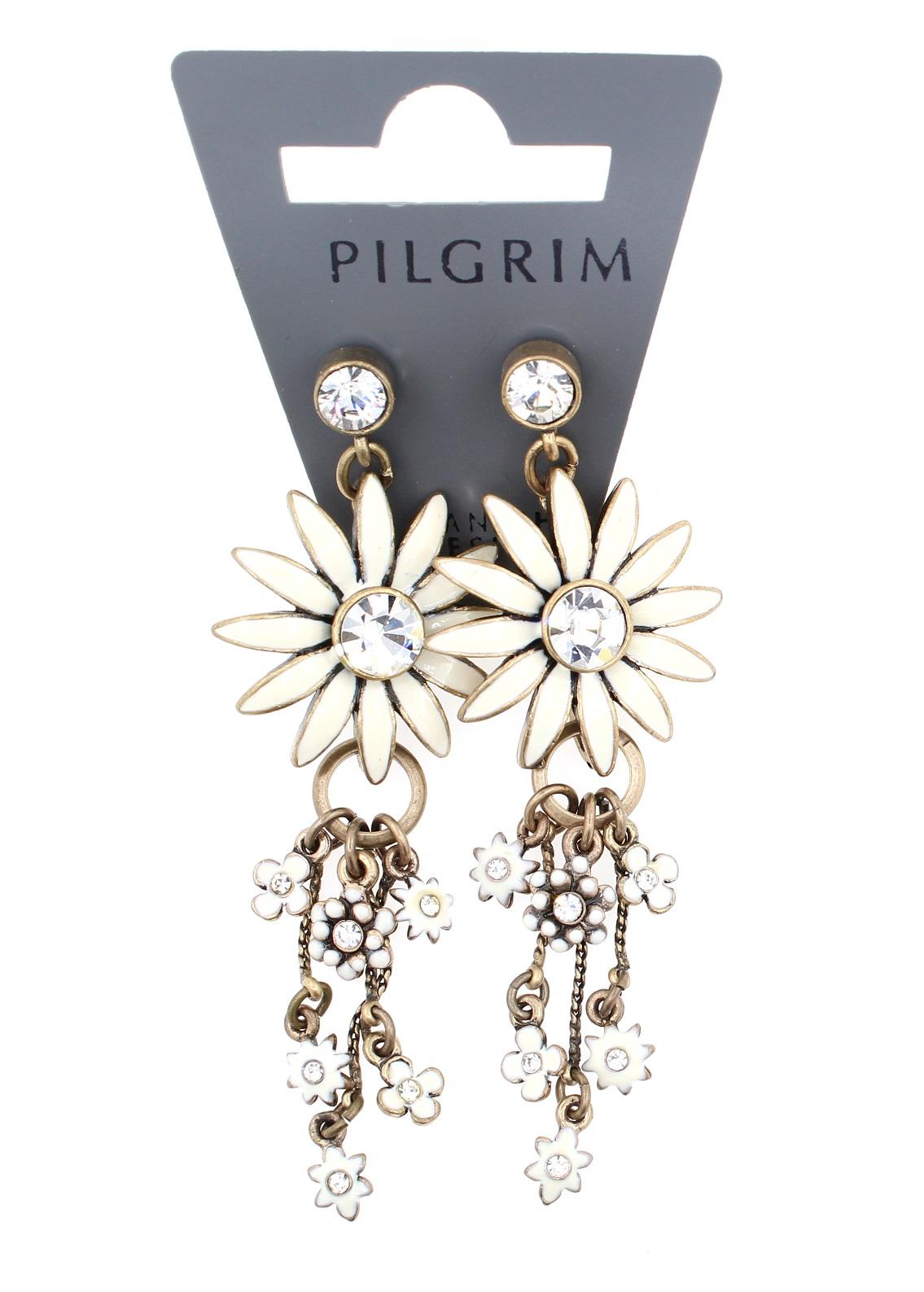 PILGRIM - Daisy - Elaborate Earrings - Oxidised Gold Plate/White BNWT