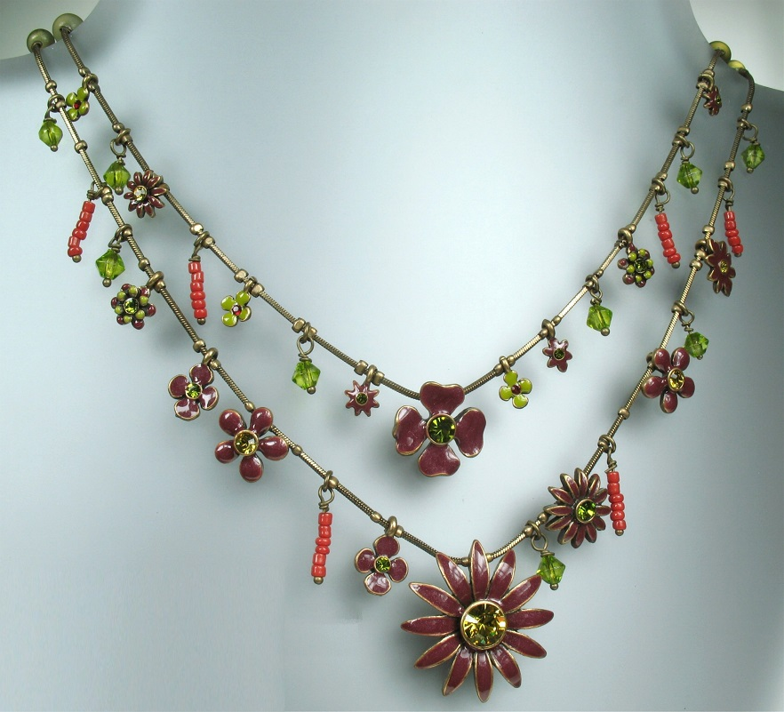 PILGRIM Daisy - Double Strand Necklace - Oxidised Gold Plate & Bordeaux Red BNWT