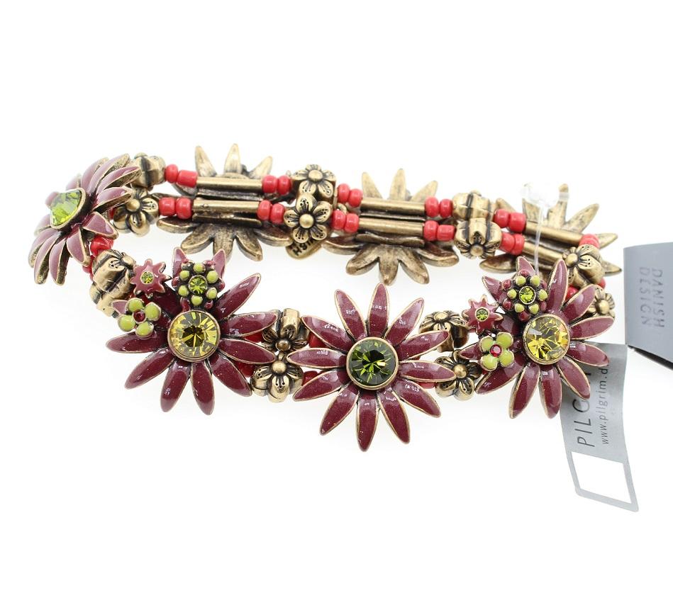 PILGRIM - Daisy - Stretch Bracelet - Oxidised Gold Plate/Bordeaux Red BNWT