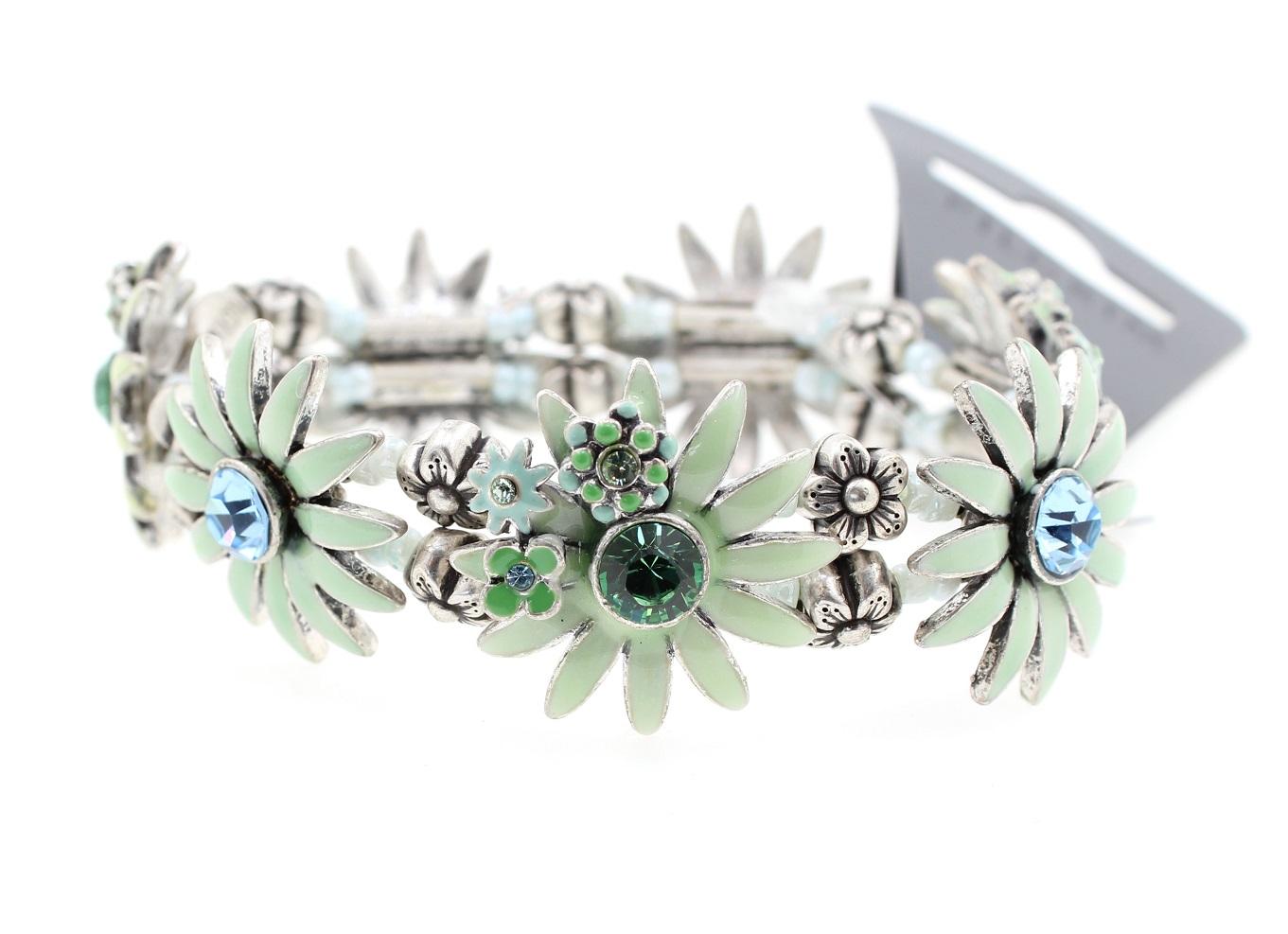 PILGRIM - Daisy - Stretch Bracelet - Oxidised Silver Plate/Green BNWT