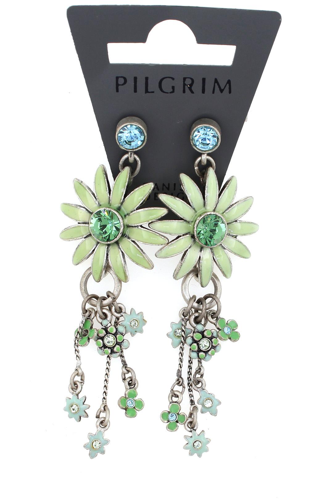 PILGRIM - Daisy - Elaborate Earrings - Oxidised Silver Plate/Green BNWT