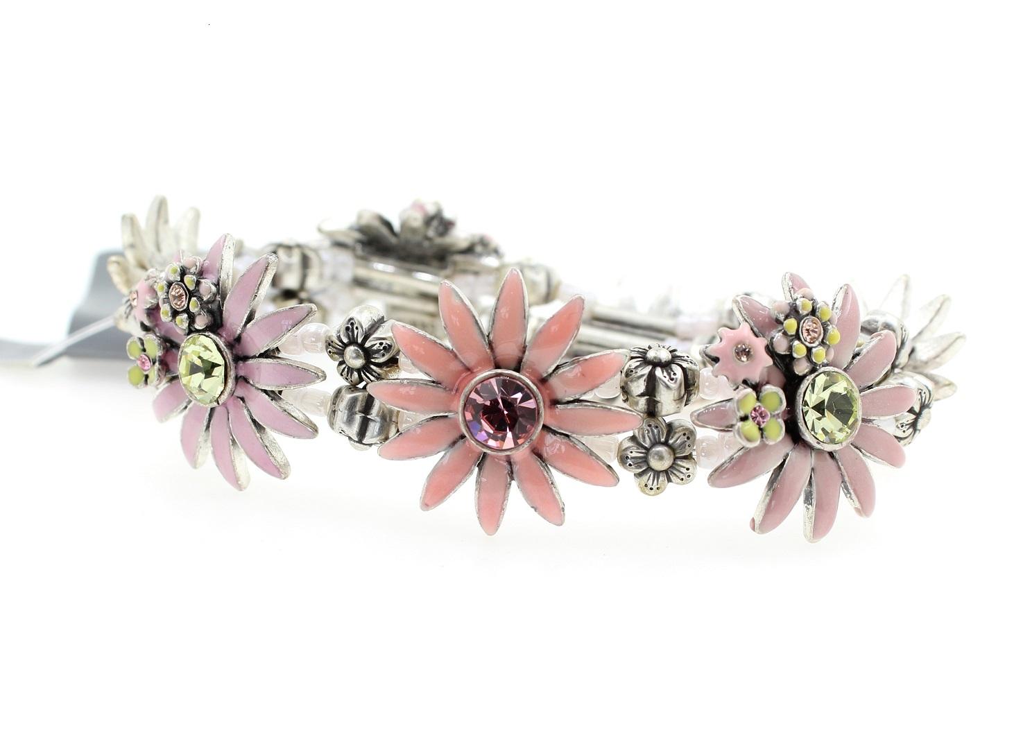 PILGRIM - Daisy - Stretch Bracelet - Oxidised Silver Plate/Pink, Yellow & Purple BNWT