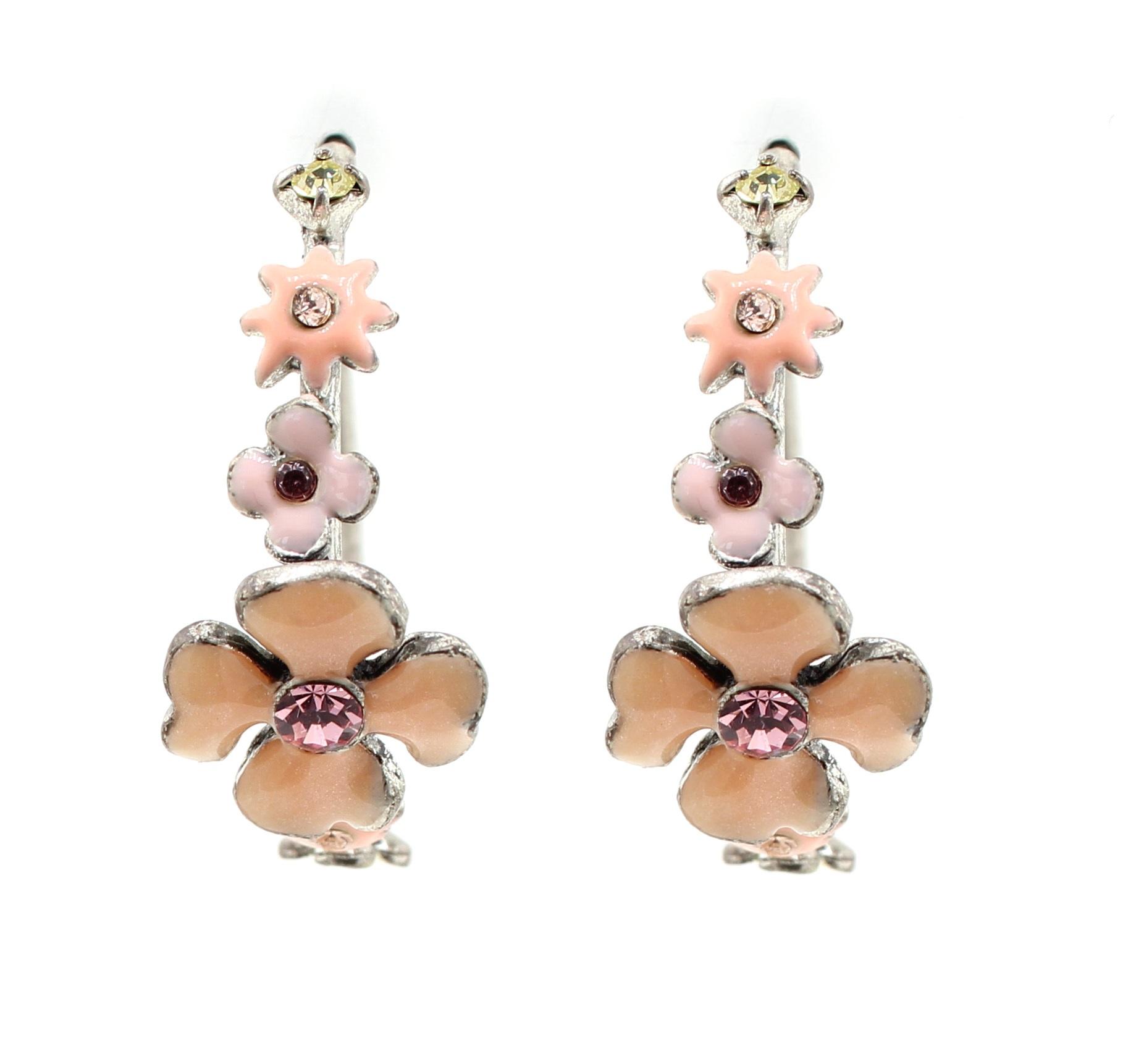 PILGRIM - Daisy - Hoop Earrings - Oxidised Silver Plate/Pink & Yellow BNWT