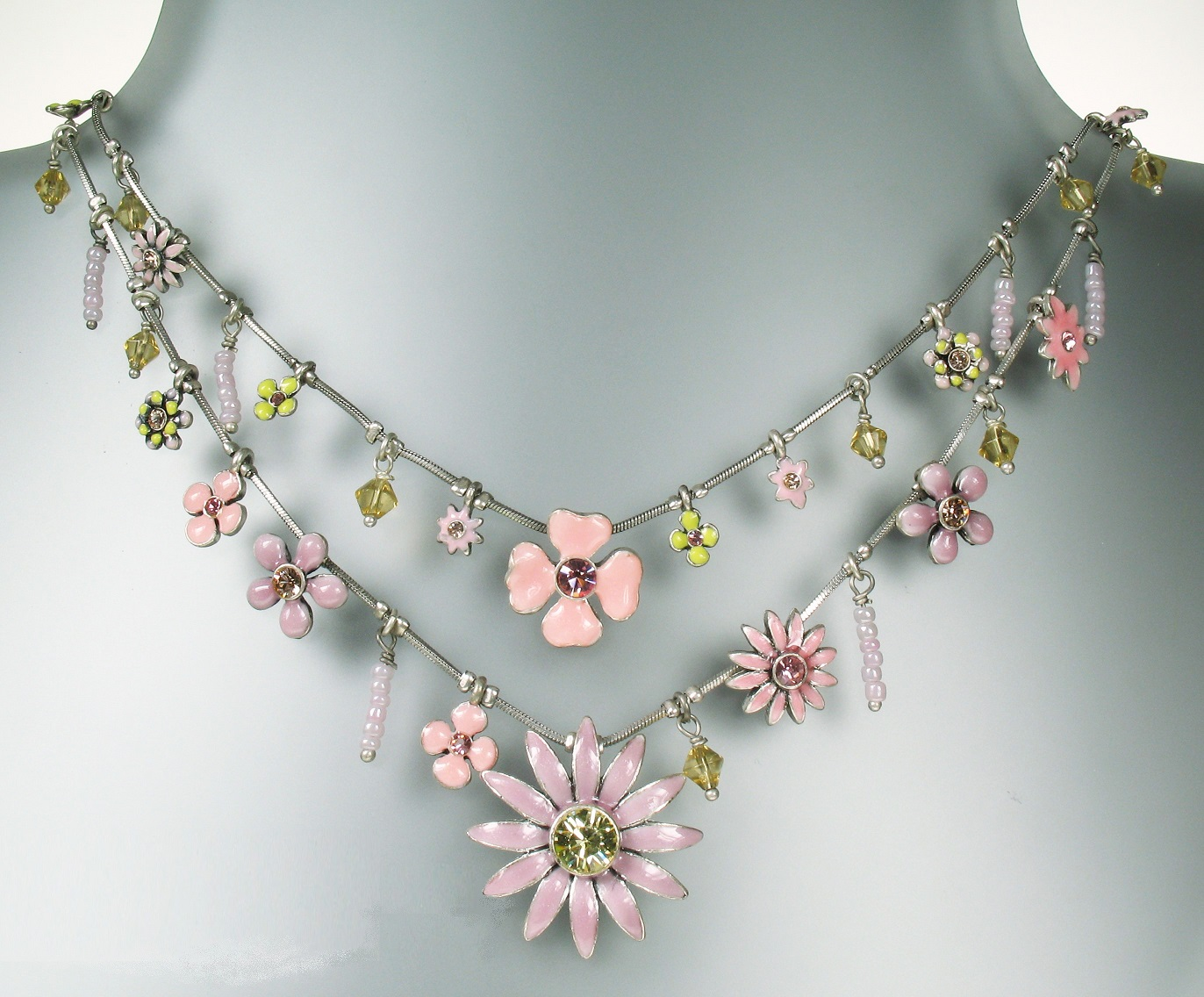 PILGRIM Daisy - Double Strand Necklace - Oxidised Silver Plate & Pastel Pink, Lilac & Yellow Accents BNWT