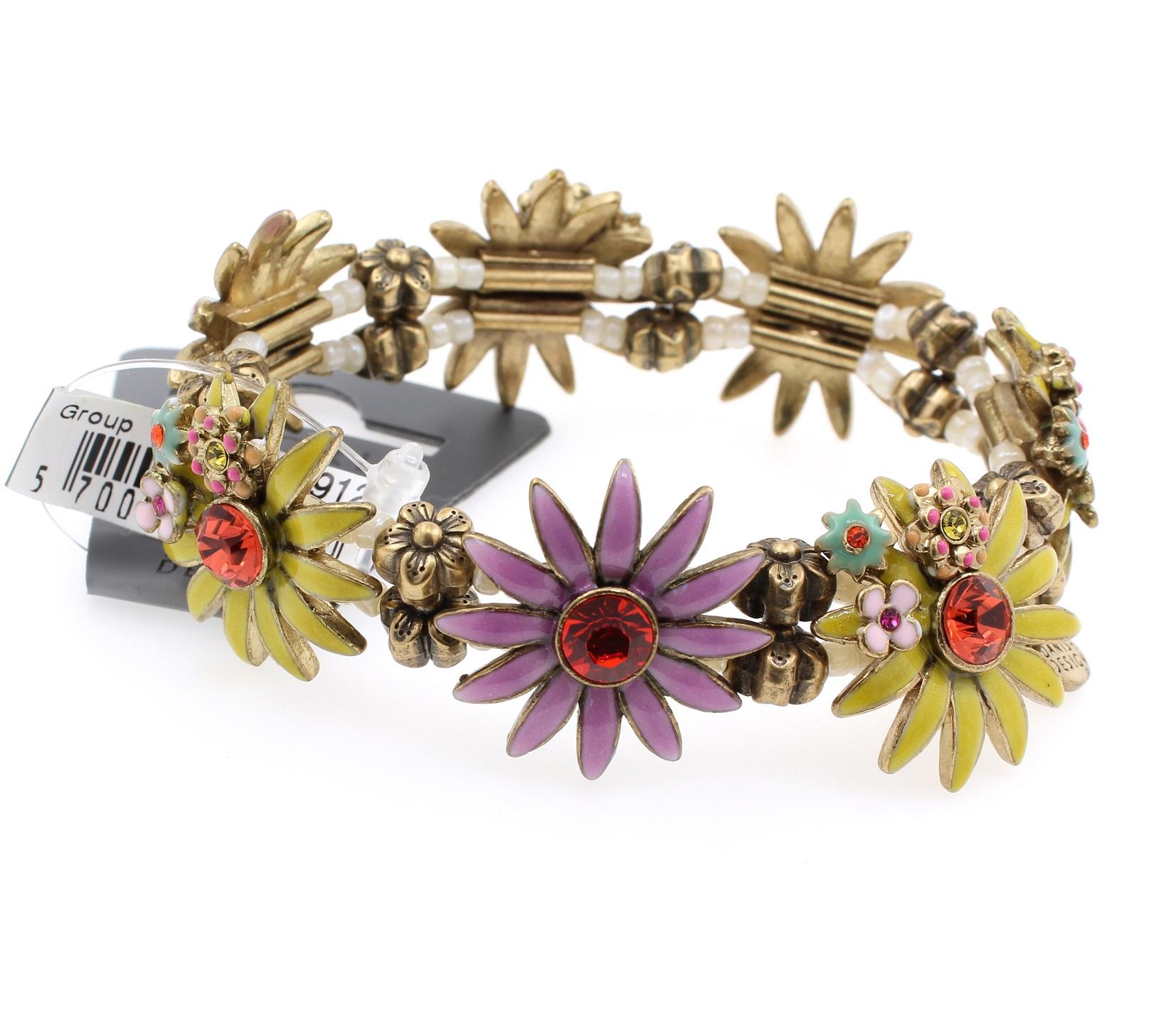 PILGRIM - Daisy - Stretch Bracelet - Oxidised Gold Plate/Yellow, Pink, Purple BNWT