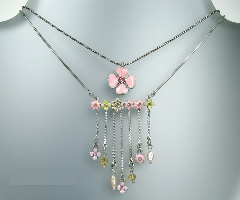 PILGRIM - DAISY - Double Strand Necklace - Silver/Pastel Pink & Yellow BNWT