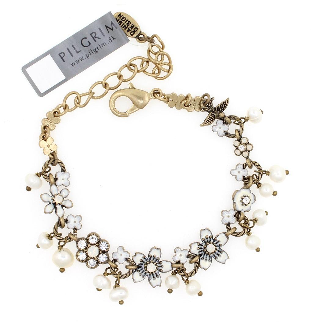 PILGRIM - Swallows & Flowers - Bracelet Oxidised Gold/Clear BNWT