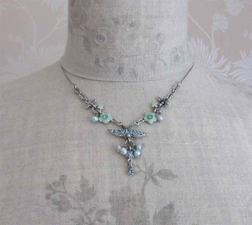 PILGRIM - Swallows & Flowers - Necklace Oxidised Silver/Blue BNWT