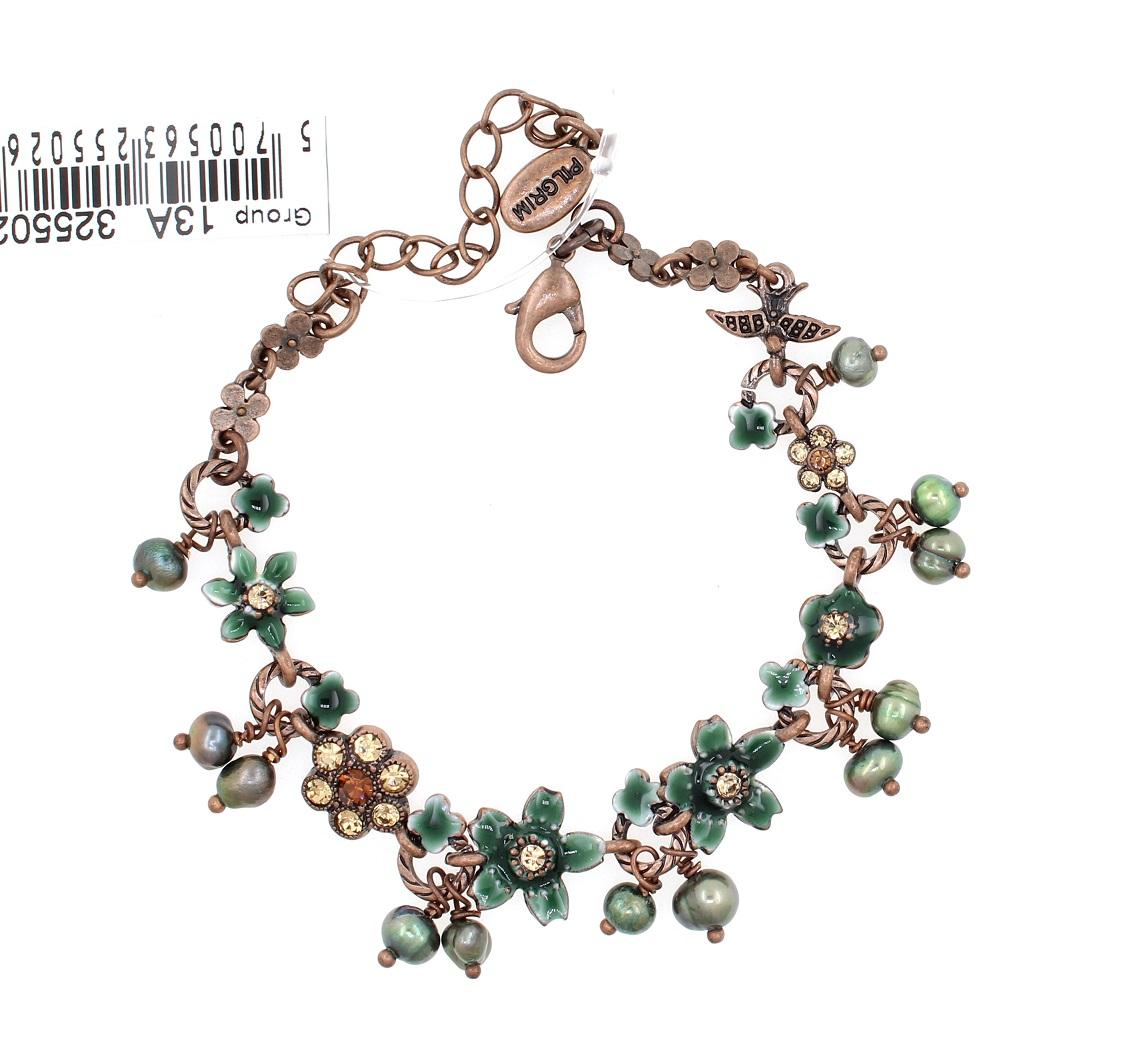 PILGRIM - Swallows & Flowers - Bracelet Oxidised Copper/Teal & Topaz BNWT