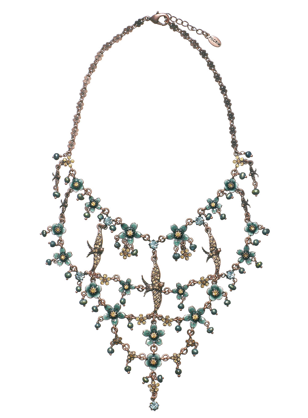 Elaborate Swallow & Flower Pilgrim Necklace Teal/Topaz/Oxidised Copper