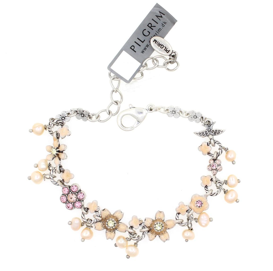PILGRIM - Swallows & Flowers - Bracelet - Oxidised Silver/Pink BNWT