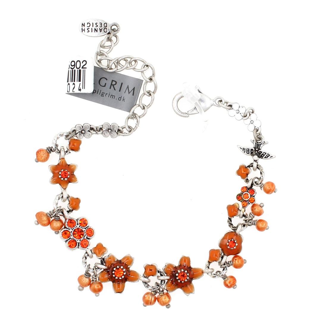 PILGRIM - Swallows & Flowers - Bracelet Oxidised Silver/Orange BNWT