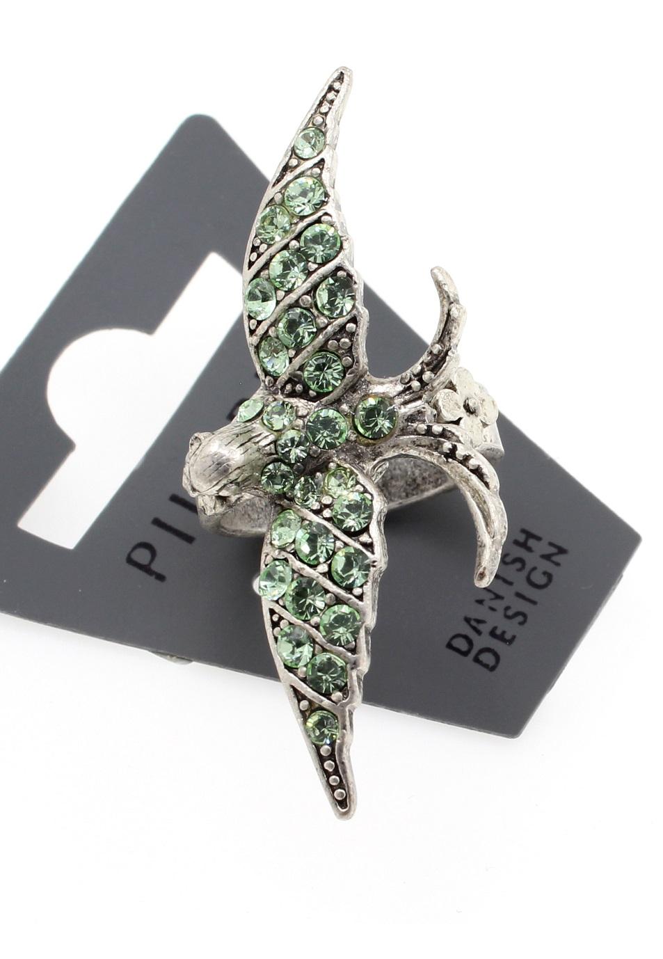 PILGRIM - Swallow & Flowers - Ring Oxidised Silver/Green BNWT