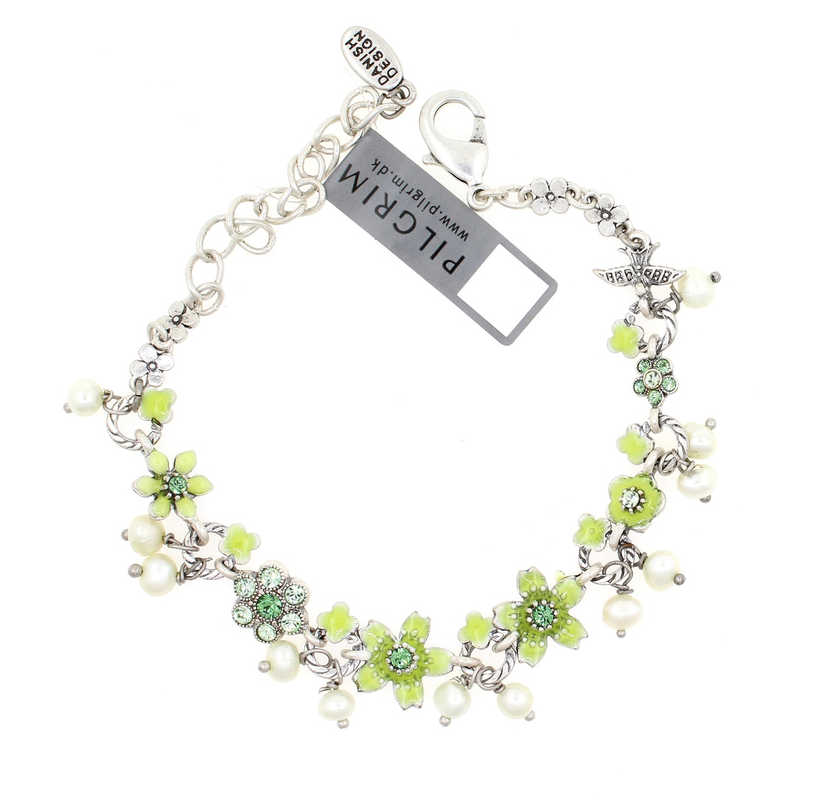 PILGRIM - Swallows & Flowers - Bracelet Oxidised Silver/Green BNWT