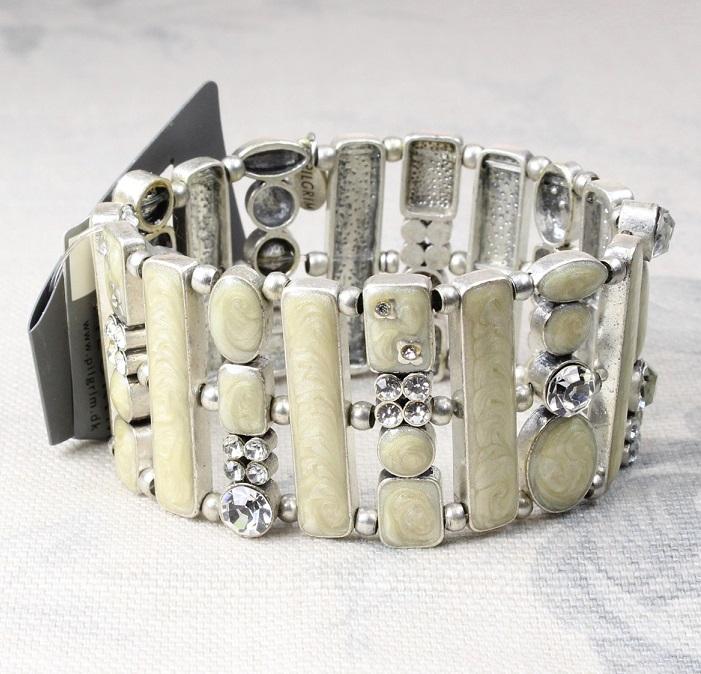 PILGRIM - Geo - Wide Bracelet - Oxidised Silver Plate/ Cream Pearl BNWT