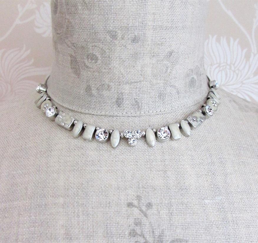 PILGRIM - Geo - Necklace - Oxidised Silver/Cream Pearl & Clear BNWT