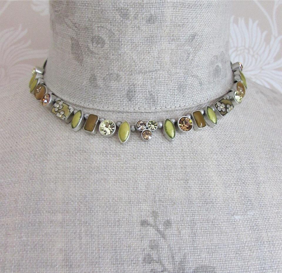 PILGRIM - Geo - Necklace - Oxidised Silver/Yellow & Peach BNWT