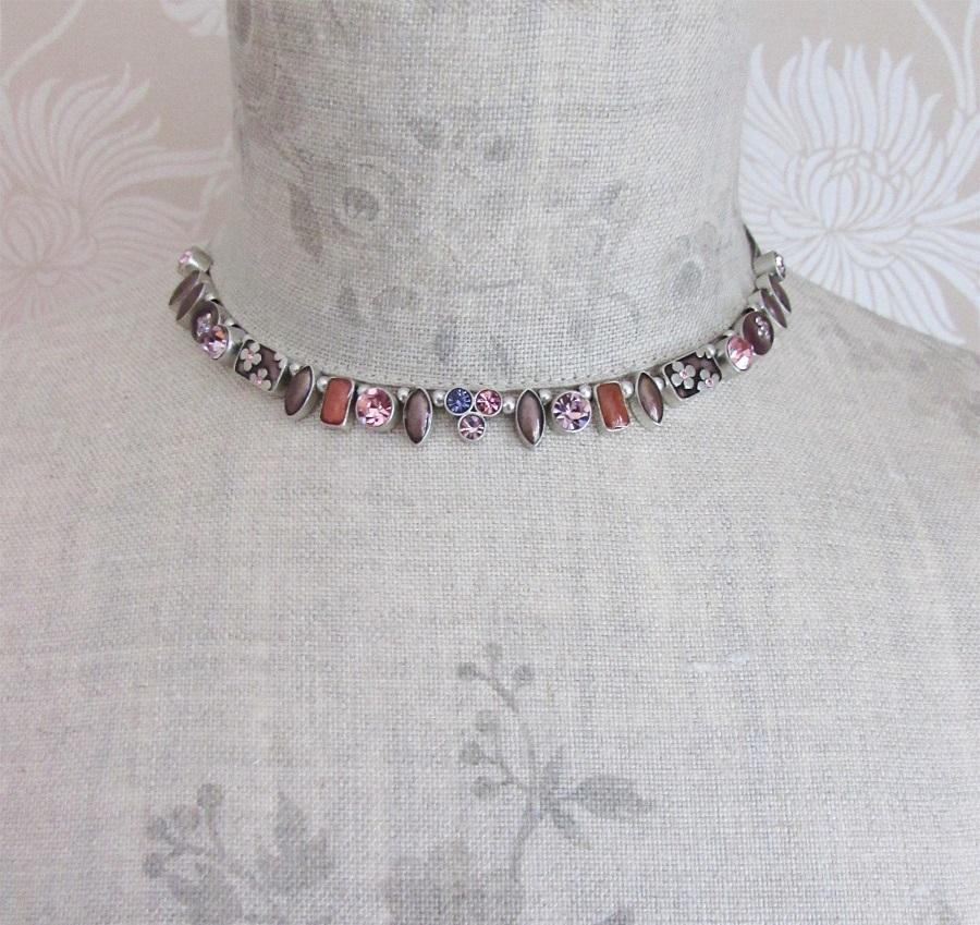 PILGRIM - Geo - Necklace - Oxidised Silver/Pink & Purple BNWT