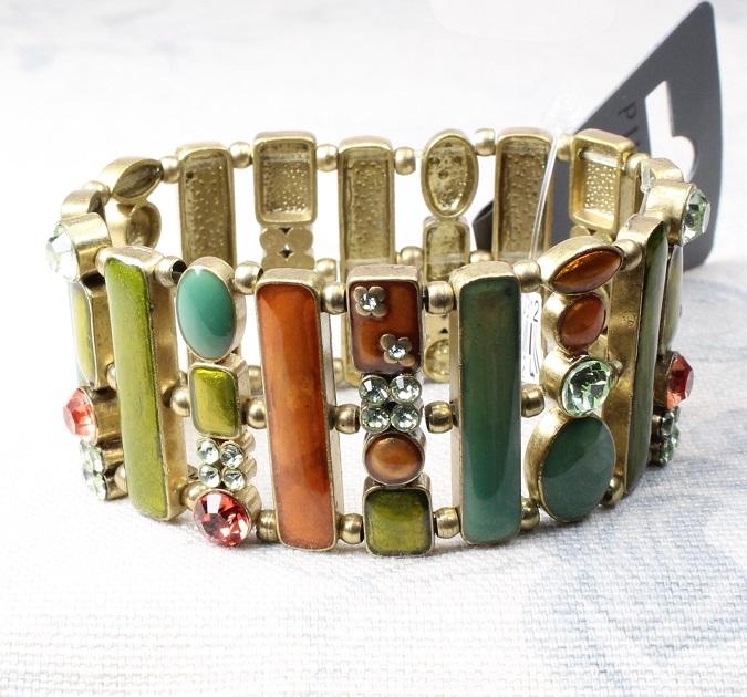 PILGRIM - Geo - Wide Bracelet - Gold Plate/ Multi-Colours BNWT