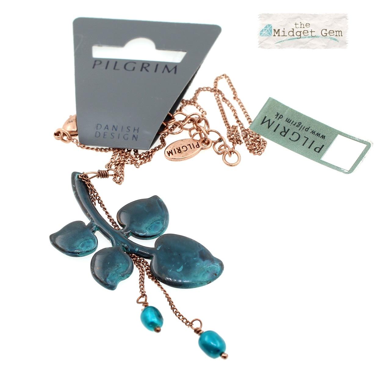PILGRIM - Patina - Pendant Necklace - Fired Blue Enamel /Copper BNWT